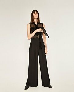 5c9f7ff46ee9 Details about ZARA Contrasting PALAZZO Jumpsuit Sleeveless Shiny Stripe  Black New( 105) XS S M
