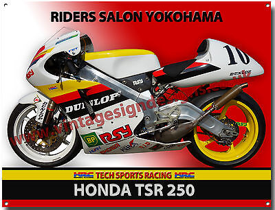 HONDA TSR 250cc MOTORCYCLE METAL SIGN.RIDERS SALON YOKOHAMA,MOTORCYCLE RACING.