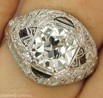 2.25CT ANTIQUE VINTAGE OLD MINE CUSHION DIAMOND ENGAGEMENT WEDDING RING EGL USA
