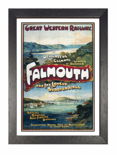 Falmouth Cornwall Retro Picture Old Railway Advert Photo Vintage Poster Print