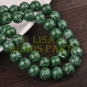 Hot-30pcs-10mm-Round-White-Stripes-Charm-Loose-Spacer-Glass-Beads-Deep-Green