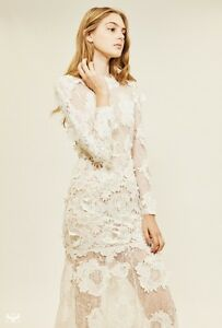 1f2c039b14c Image is loading ASOS-BRIDAL-Lace-3D-Floral-Maxi-Dress-White-
