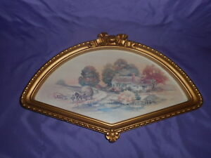 Vintage Homco Home Interior 3250 Country Autumn Scene Gold Fan Framed Picture Ebay