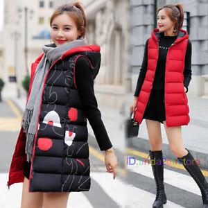 Womens-Hooded-Down-Cotton-Vest-Waistcoat-Long-Jacket-Sleeveless-Coat-Winter-Warm
