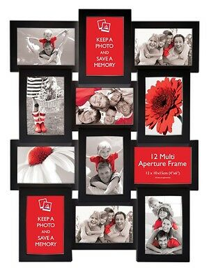 Multi Aperture Photo Picture Frame - Holds 12 X 6''X4'' Photos -Black