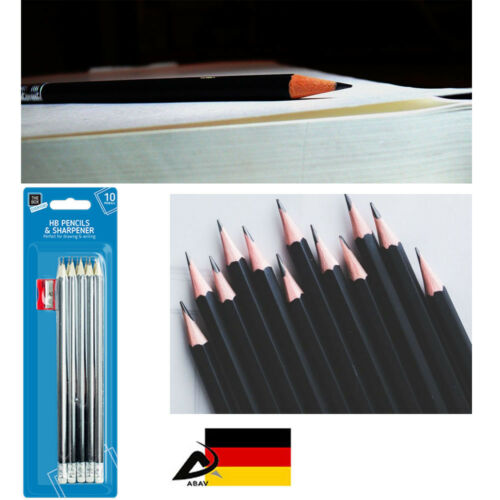 10 Stück Bleistifte mit Radierer und Spitzer HB Stifte Schulbedarf Zeichenen