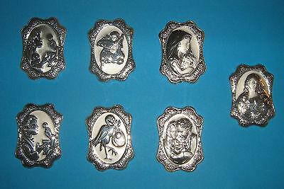 1 Pz Placca Icona Ovale in Argento Bilaminato Nascita Comunione Battesimo Sposi