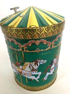 Germany-Green-Embossed-Carousel-Horse-Tin-Cookie-Music-Box-2008-Holy-Night-Carol