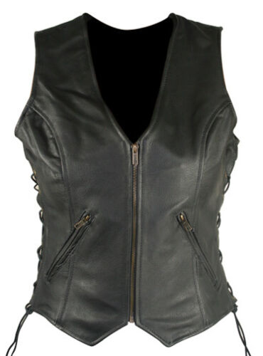 WOMEN/'S ZIP FRONT SIDE LACED BLACK LEATHER MOTORCYCLE VEST sizes