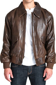 Brown Leather Classic Air Force A-2 Bomber Military Flight Jacket  e0c55bfa292
