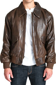 Brown Leather Classic Air Force A-2 Bomber Military Flight Jacket