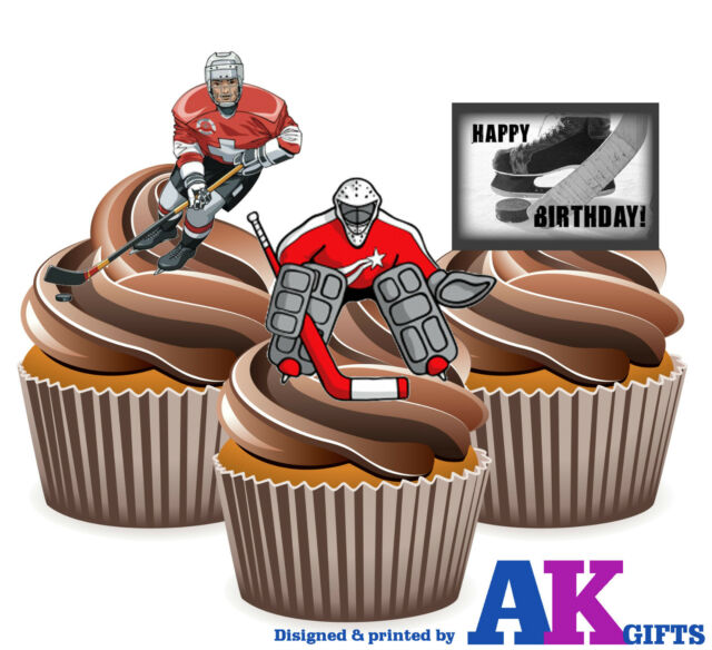 12 Happy Birthday Ice Hockey Mix Edible Wafer Cup Cake Toppers Stand