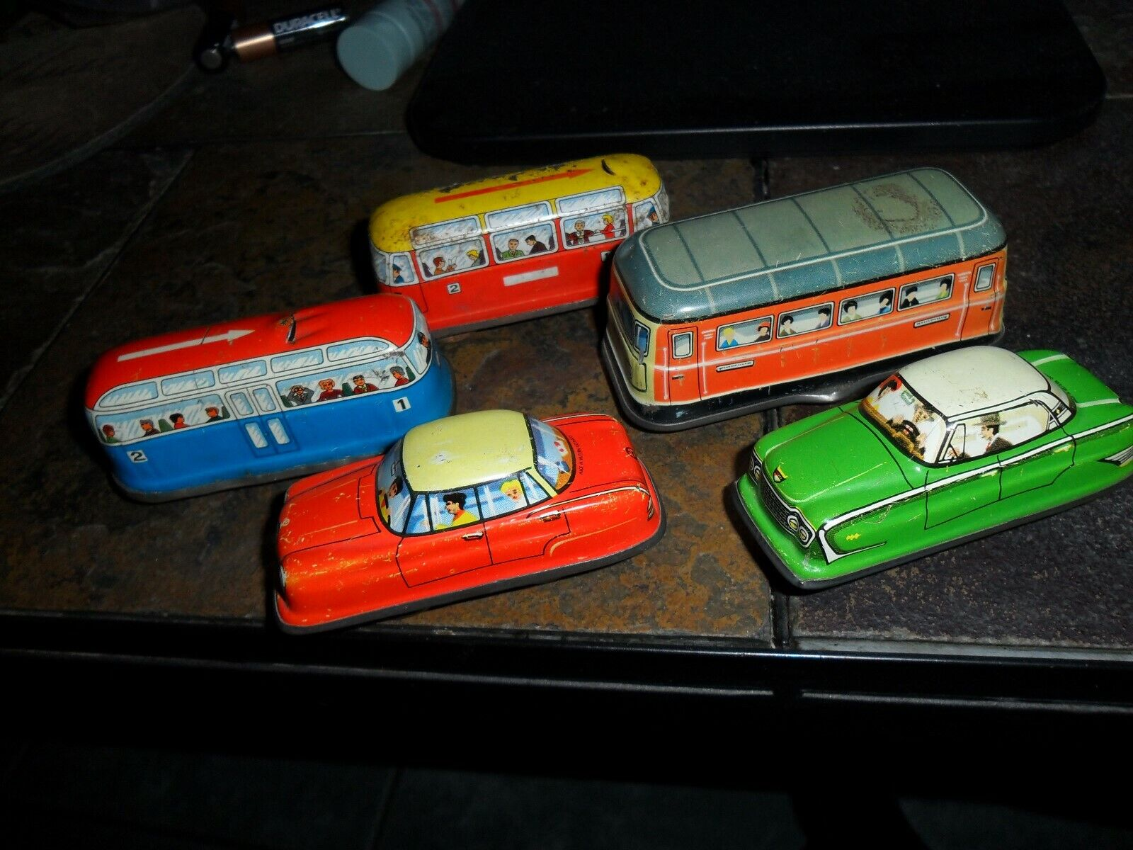 5 LOT Vintage BUS & CAR Western Germany Friction Tin Toy Wind Up