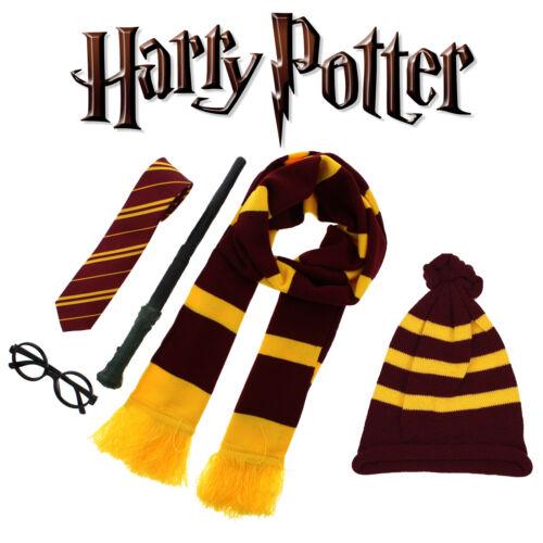Boys Girls Yellow Stripe Fancy Dress Scarf Tie Socks Hat Glasses Magic Wand Set