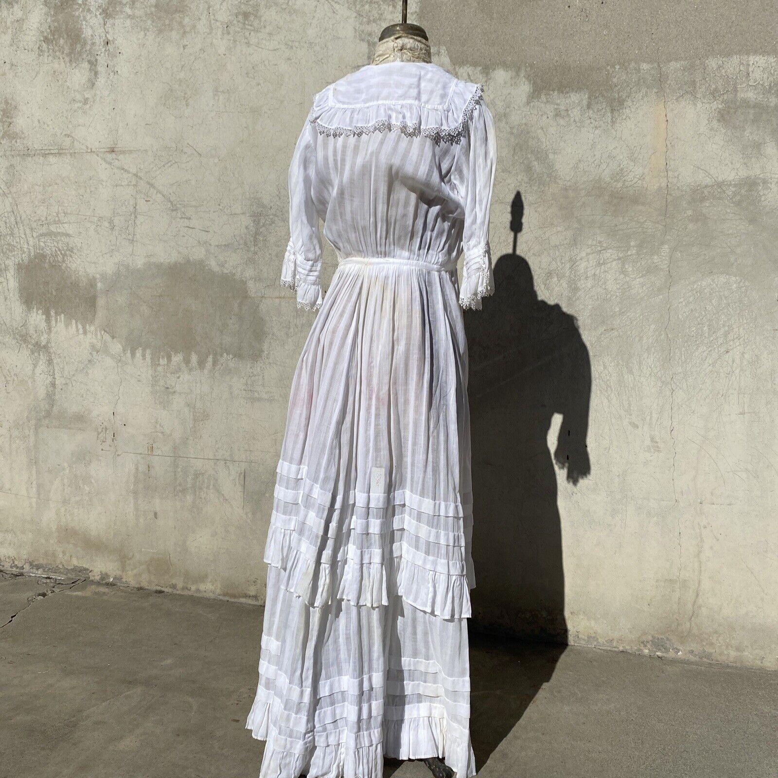 Antique Edwardian White Cotton Tea Dress Maxi Lac… - image 10