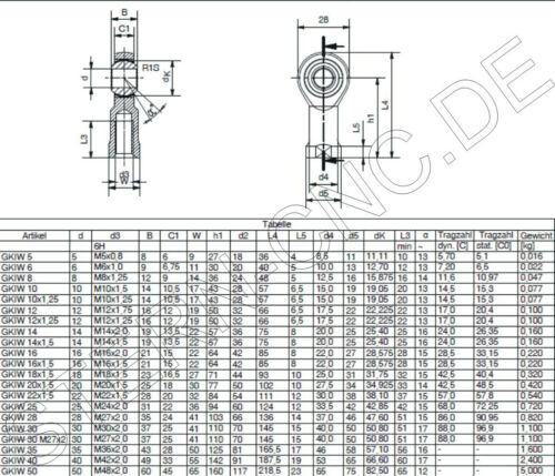 da01 Gelenkkopf m12 uniballgelenk Rotule articulaires Camp DROIT NEUF!!