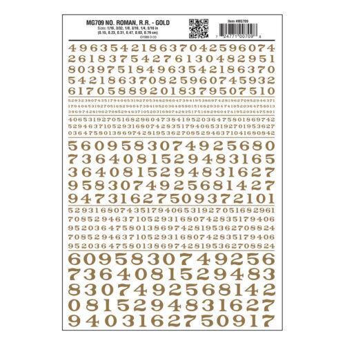 Zahlen Römische RR Gold Trocken Transfer Blatt Woodland scenics MG709