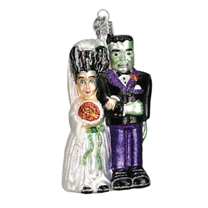 Old-World-Christmas-FRANKENSTEIN-amp-BRIDE-26065-N-Glass-Ornament-w-OWC-Box