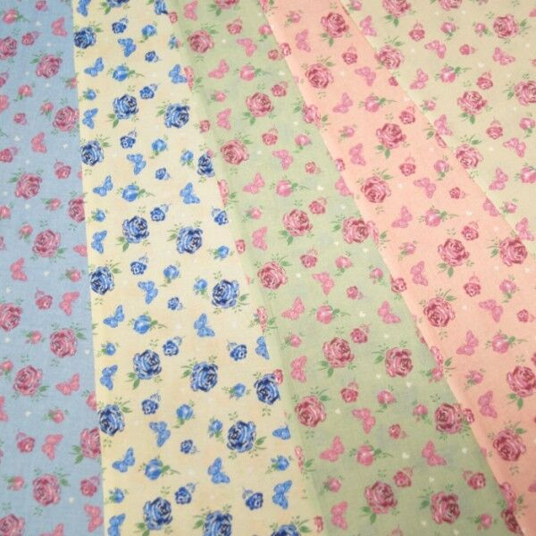 Rose Floral Flutterby Butterflies Toss On 100% Cotton Dress Fabric
