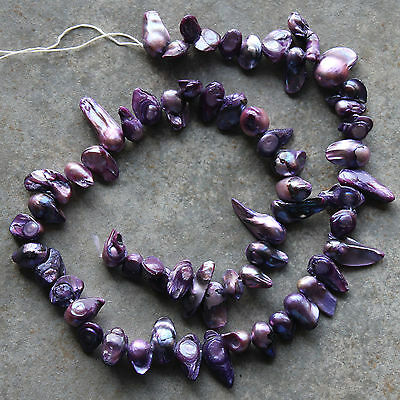 """Natural Freshwater Pearl Purple Top-Drilled Baroque Loose Beads 15/"""" Strand"""