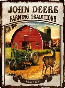 John-Deere-Farming-Traditions-Blechschild-Schild-3D-gepraegt-Tin-Sign-30-x-40-cm