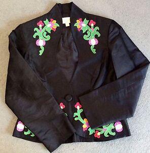 zijden Zwart met 12 bloemenapplicatie zuiver Uk jasje Uxp5fgwx