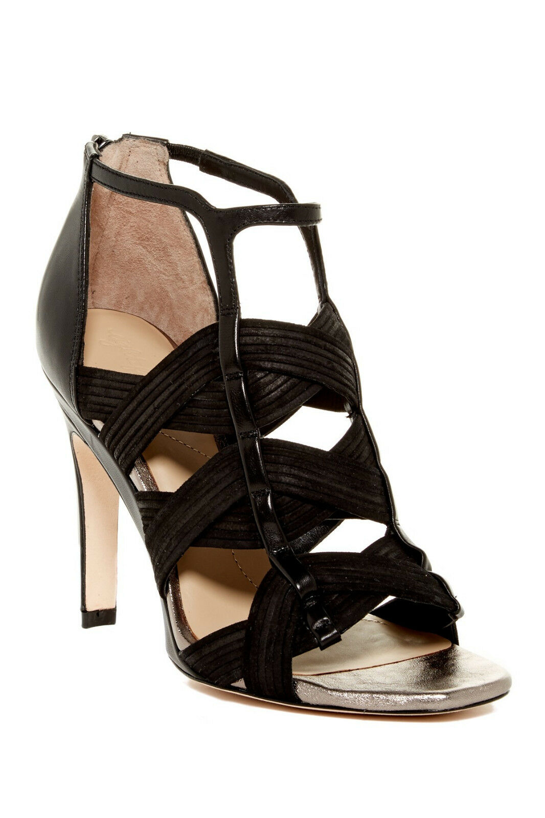 Eight fifteen Liza Cutout Sandal, Woven suede straps, Back zip, Size 9,  495 NWB