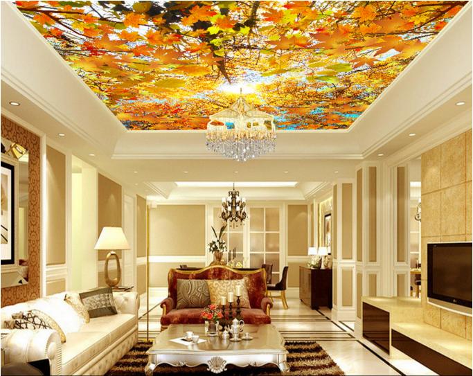 3D Golden Leaf 53 Ceiling WallPaper Murals Wall Print Decal Deco AJ WALLPAPER UK