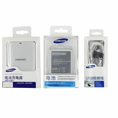 Original SAMSUNG Galaxy S4 S 4 IV I9500 2600mAh NFC Battery &Charger & Cable