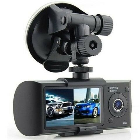 Split Dual Screen in Car CCTV Video Recording Dash Camera with GPS & G Sensors