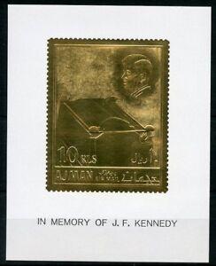 AJMAN-JOHN-F-KENNEDY-GOLD-FOIL-STAMP-amp-DELUXE-SOUVENIR-SHEET-MINT-HINGED