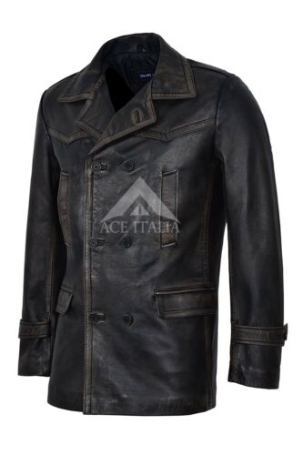 WW2 Mens Leather Pea Coat Double Breasted Classic REAL LEATHER Coat Jacket DRWHO