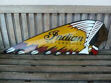 """old Indian , 41"""" !! porcelain sign heavy convex collectible rar chief motorcycle"""