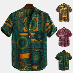 Men-Cotton-Linen-Ethnic-Printed-Short-Sleeve-Casual-Henley-Shirts-Summer-Tops-UK