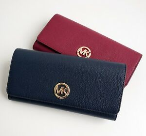 Details about Michael Kors Purse Wallet Fulton Flap Leather Navy New