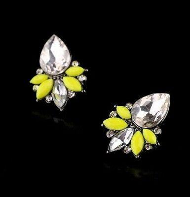 Hot Occident Fashion Yellow Resin Crystal Drop Flower Black Metal Earring Stud
