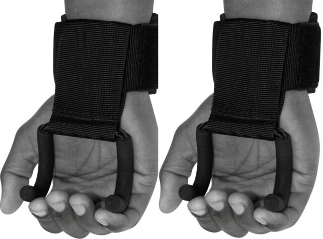 Auth RDX Weight Lifting Training Gym Hook Grips Straps Wrist Support Black AU