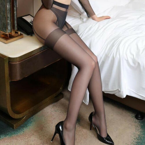 Womens Sheer High Waist Tights Pantyhose Crotchles Shiny Thigh High Stocking