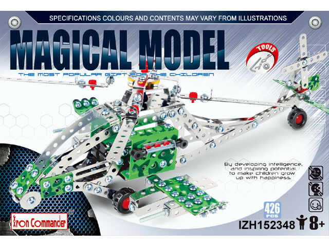 Iron Commander Metal Construction Kit Magical Model Apache Helicopter 426 Pcs