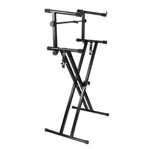 Pro-Adjustable-2-Tier-X-Style-Dual-Keyboard-Stand-Electronic-Piano-Double-New