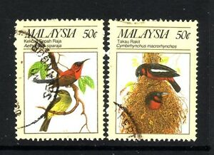 BIRDS-ON-STAMPS-MALAYSIA-1988-50c-x2-different-birds-used
