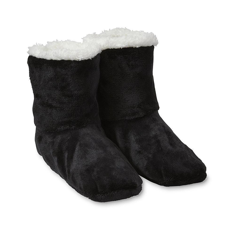 Ladies' Women's Navy Blue Cozy Fuzzy Winter Slipper Booties Shoe Size 4-10
