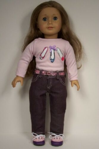 """3pc PURPLE Pants Shoe-Shirt PINK Belt Doll Clothes For 18/"""" American Girl Debs"""