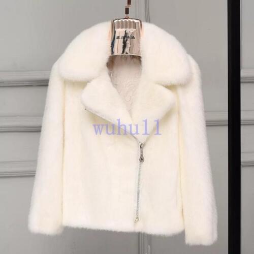 Femme Chic Real mink fur Lapel Solid Veste hiver chaud manteau thiken Slim Parka