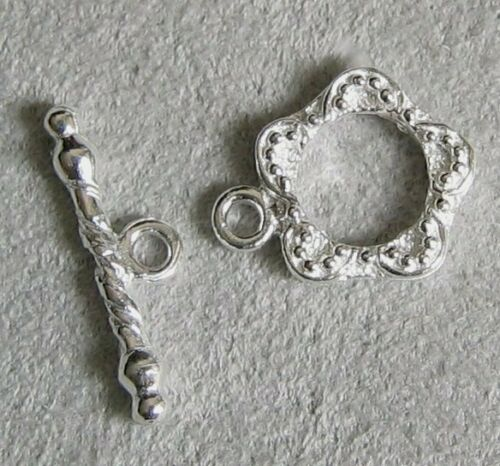 2 sets Sterling Silver Flower Toggle Beads Clasp