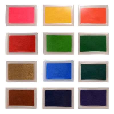 12pcs Multi-colored Ink Pads Stamp Creative DIY Craft Fabric Wood Paper TH687