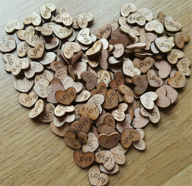 100X Rustic Wooden Wood Love Heart Wedding Table Scatter Decoration Crafts Lot