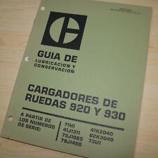 Spanish Espanol Caterpillar 920 930 Front End Wheel Loader Operator Manual Libro