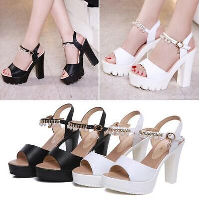Fashion Womens Platform Block High Heel Sandals Peep Toe Pearl Ankle Strap Shoes