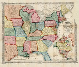 Details about 1856 UNITED STATES AMERICA Railroads & Canals historic map  POSTER 4818002